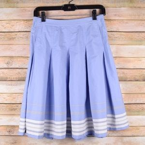 J. Crew Skirt Womens 0 Pleated Blue White Striped